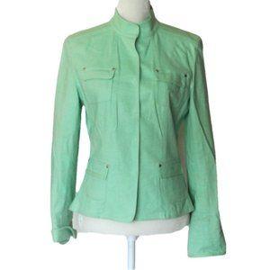 Tahari Mint Geen Linen Blend Jacket S Snap Buttons